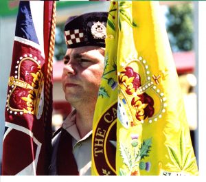 WO Besse was the Colour Escort Warrant Officer for the 1990 trooping and presentation of the new Queen's Colour.